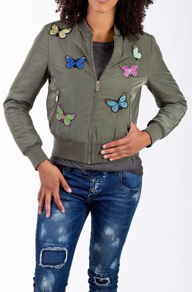 Blue Monkey Bomberjacke Schmetterlingspatches