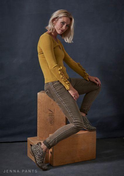 Red Button SRB2449 JANNA color khaki modische Damen Hose im Jeans Schnitt