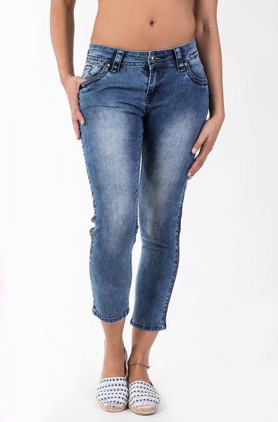 Blue Monkey Charlotte 3930, lässige 7/8 Jeans mit einem dunkelblauen Pailettenband