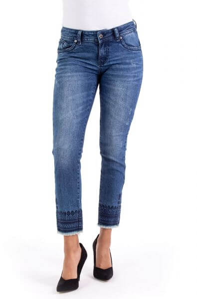 Blue Monkey Laura 10555 Cropped Skinny Fit mit Sickerei