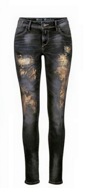 Blue Monkey Penny BM-1068 Damen Jeans gold spray