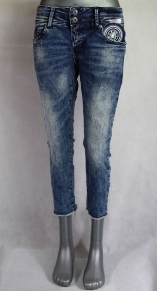 Blue Monkey Mary 10217 cropped slinny/open hem Denim lässige 7/8 Damenjeans