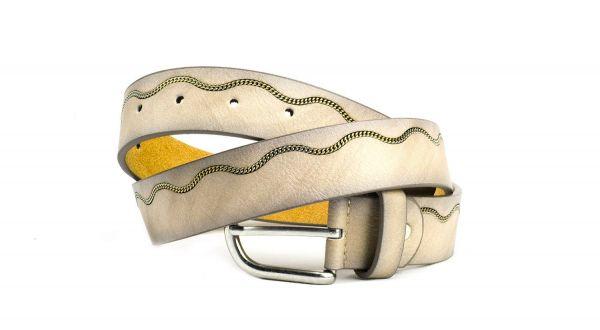RAVE-CRAFT modischer Damen Leder Gürtel mit eingearbeiteter Kette
