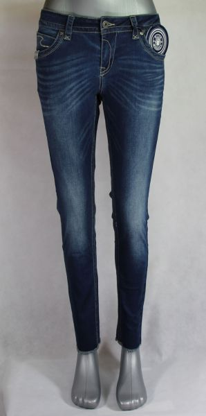 Blue Monkey Laura-7201 perfekte Passform Cropped Denim/open hem