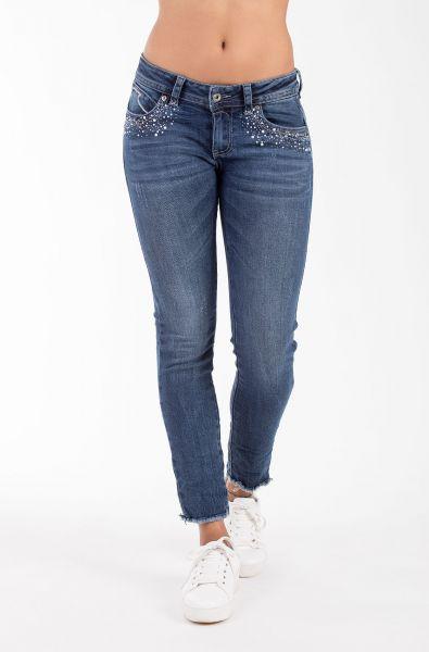 Blue Monkey Laura 10125 modische Damen Jeans mit Schmuck Steinen